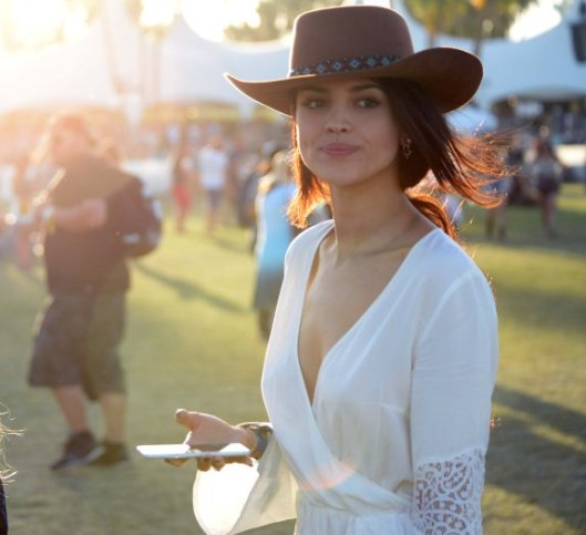 Mexican model and actress Eiza González is spotted on Day 3 of the Coachella Music Festival in Indio, Ca